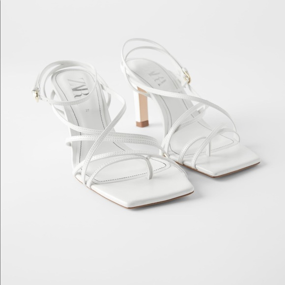 Zara White Heeled Leather Square Toe